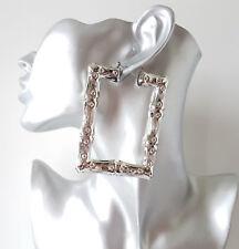Precioso 8 cm Silvertone Cuadrado de Bambú Criollo aro pendientes grandes Celebrity Fashion