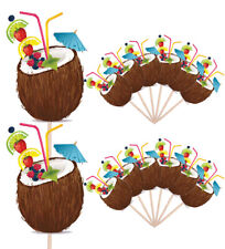 Coconut Hawaiian Party Food Cup Cake Picks Sticks Birthday Decorations Toppers