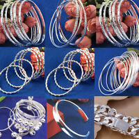 6/10pcs Wholesale 925 Sterling Silver Cuff Bracelet Bangle Charm Women Men Gift