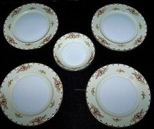 4 Salad plates&1 Bowl MEITO MEI32 R & D CHINA hand painted 22k Gold JAPAN unused