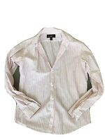 Nicole Miller Mens Red White Striped Button Front Shirt 15 32/33 Medium