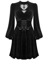 Dark In Love Gothic Witch Dress Black Velvet Heart Cutout Cincher Corset Waist