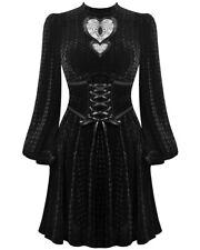 Dark In Love Gothic Witch Dress Black Velvet Heart Cutout Cincher Corset Waist