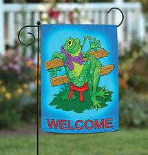 Toland Lazy Frog 12.5 x 18 Bright Blue Welcome Country Garden Flag