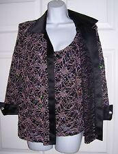 RM Richards Women's Medium 10 Dressy Jacket Attached Top Rhinestones Black Satin