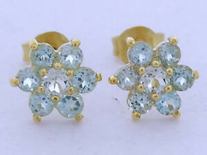s E058 Genuine 9K Yellow Gold Natural Aquamarine Blossom Cluster Stud Earrings