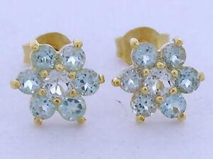 E058 Genuine 9K Yellow Gold Natural Aquamarine Blossom Cluster Stud Earrings