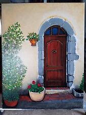 """ORIGINAL ARTWORK DOOR PAINTING 14""""x 18"""" acrylic painting on stretched canvas"""