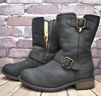 Womens UGG Australia Black Leather High Heel Ankle Boots UK 6.5 EUR 39 Zip Broke