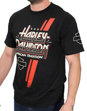 Harley-Davidson Mens LARGE Racing Stripe B&S Black Short Sleeve Biker T-Shirt