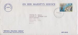 Bermuda-1982 $1 Smiths & Pagets Forts OHMS Air Mail Cover Official Paid-Hamilton