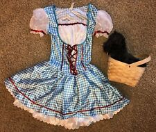 Dorothy Costume Wizard of Oz with TOTO in a basket Junior sz 7-9 Medium