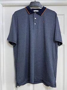 Calvin Klein Golf Polo Shirt Striped Mens Size Large Multi-Colour