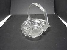 "Fenton Water Lily Handled Basket Crystal Velvet 7 1/2"" T ca 1977-80's"