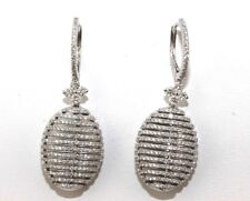 Oval Shape Diamond Cluster Striped Pave Drop Earrings 18K White Gold 1.96Ct