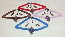 Faux Leather Chokers w/Diamond-Shaped Pendants And Earrings ~ 4 Sets/4 Colors