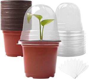 Plant Nursery Pots with Humidity Domes (30 pots + 30 Transparent lids), 30 Sets