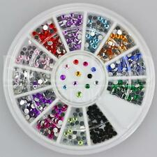 400pc Rhinestone 3d Nail Art Fashion Diamante Glitter Gem Multi Colour Round 2mm