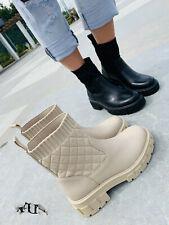 Damen Plateau Stiefeletten Chelsea Boots Schuhe Stiefel beige hell Gr. 36-41