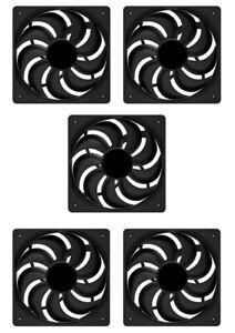 5 x PC Case Fan 12cm 120mm 1200RPM, Black, 20.62 dBA, 47.8 CFM, 4 Pin Molex, 12v