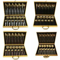 Stainless Steel Gold Cutlery Kitchen Dining Dinner Solid Box Set 30/24/16/4pcs