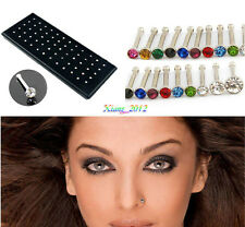 Nose Pin Lip Body Piercing Studs 70Pcs Colors Rhinestone Surgical Steel Nail