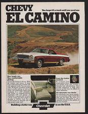 1974 CHEVY EL CAMINO - 1 Tough Car. 1 Comfortable Pickup - CHEVROLET VINTAGE AD
