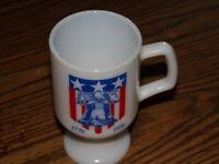 Vintage Milk White Glass Pedestal Coffee Mug Cup Bicentennial Liberty Bell 1776