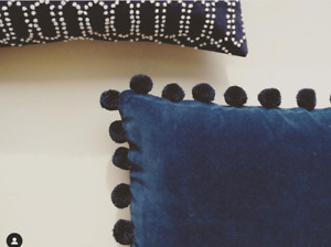 4 x Ashti Blue Velvet Cushions by Jay Street Block Print Company Pom Pom NEW