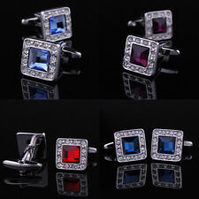Diamond Gem Stainless Steel Wedding Silver Business Square Cufflinks, 5 Colors