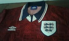 MAGLIA SHIRT VINTAGE '90 ENGLAND FOOTBALL RED AWAY OFFICIAL UMBRO SIZE L