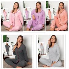 Damen Pyjama Schlafanzug Lang Warm Winter Baumwolle mit Knöpfen 2 Teiler L-21