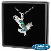 "Eagle Necklace Paua Abalone Shell Bird Pendant Silver Fashion Jewellery 18"" 45cm"