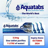Aquatabs Potable Water Purification 1 lt Tablets 10 tab strip camp survival army
