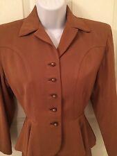 1940'S womens suit, brown gabardine, orginal gold buttons, shoulder pads
