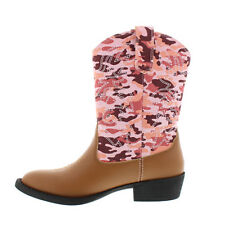 New Big Kid Girl Youth Deer Stags Ranch Pink Camo Cowboy Western Boots Size 6
