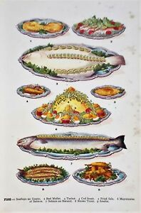 OLD ANTIQUE PRINT MRS BEETON COOKING FOOD FISH DISHES c1900 PRINTED COLOUR