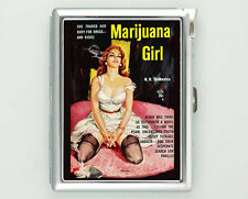 MARIJUANA GIRL PIN UP CIGARETTE CASE LIGHTER SILVER METAL WALLET VINTAGE POSTER