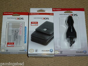 NINTENDO 3DS OFFICIAL EXECUTIVE CASE CAR CHARGER SCREEN PROTECTOR KIT - NEW! Lot