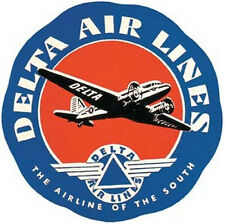 Delta Airlines    Vintage Looking 1950's Travel Decal label sticker baggage