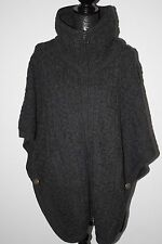 Inis Crafts Irish Cable Knit 100% Merino Wool Poncho/Vest w/Pockets & Zip sz L