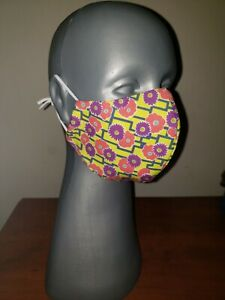 Handmade Adult Unisex Simple Multicolored Floral Face Mask Reusable 3 layers