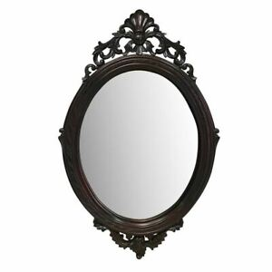 Solid Mahogany Wood Bevelled Wall Mirror Oval Hand Crafted Antique Style