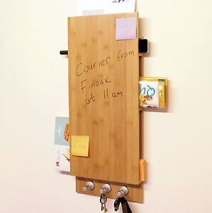 Bamboo Notice Board with Key Hooks, Letters Holder, Wall-Mounted Memo Board