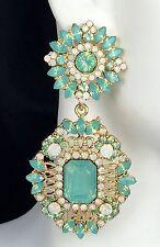 """Fabulous! 2.5"""" Long Green Faux Opal Crystal Earrings, Drag Queen, Prom, Pageant"""