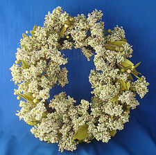 "16"" Christmas & all year twig wreath berries and leaves green & ecru"