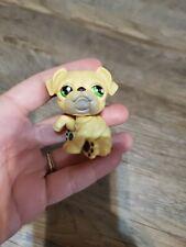 Littlest Pet Shop #107 Bulldog dog Yellow Gray Brown Green Dot Eyes red Magnet