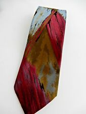Pierre Cardin Men's Vintage Polyester Tie Purple and Brown Abstract Pattern
