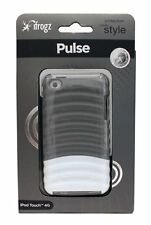 IFROGZ IPOD TOUCH 4G PULSE HARD PLASTIC CASE RIDGED GLOSSY GRAY WHITE