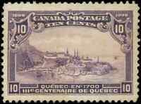 Canada #101 mint XF OG H DG 1908 Quebec Tercentenary 10c violet Quebec in 1700